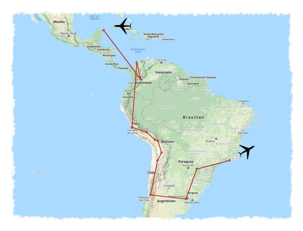 Chronologische Route für 50 Tage Lateinamerika