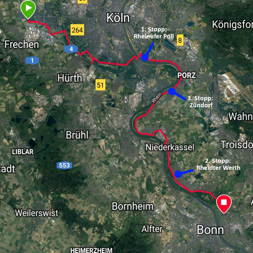Fahrradtour durchs Rheinland - Karte