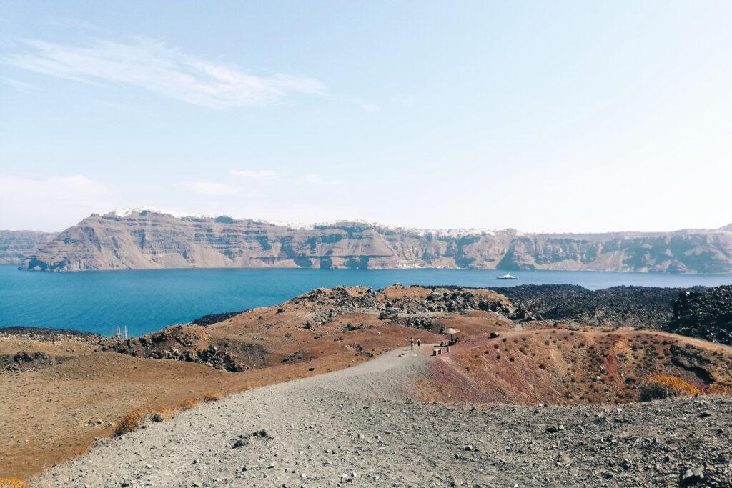 Ausblick über Santorini von Nea Kameni